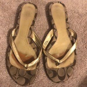 Coach gold thong sandals